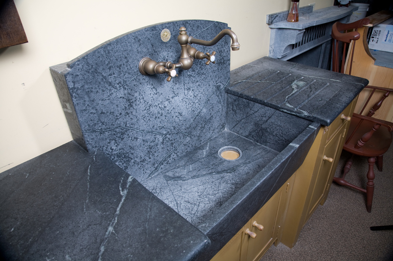 Soapstone Vessel Sink : High Backsplash Sink with Slant Front, Boxed out back, offset drain ...
